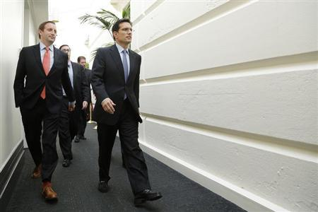 Cantor arrives for a House Republican caucus meeting at the U.S. Capitol in Washington