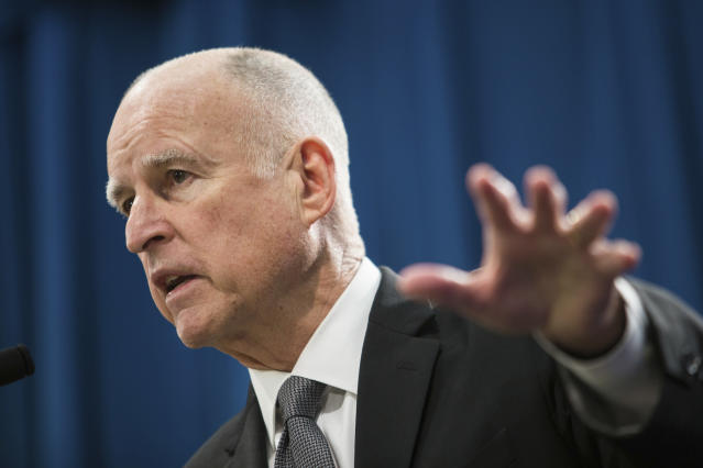 """Gov. Jerry Brown earlier said the goal """"is to block and not to collaborate withabuse of federal power."""" (Max Whittaker / Reuters)"""
