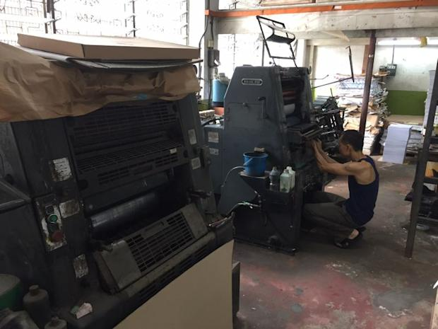 A Heidelberg offset printing machine which is still being used by Tian Sing Printing, one of the original businesses on the street.
