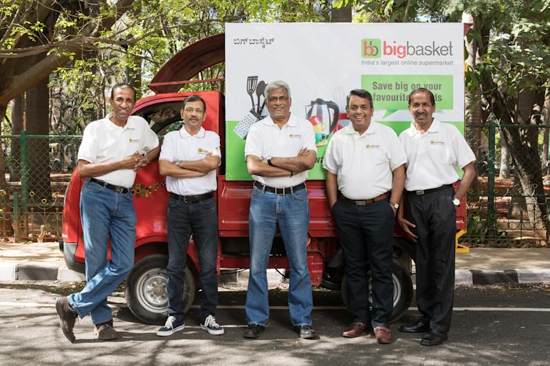 BigBasket Founders Portraits and Operations at  the Online Grocer's Distribution Center