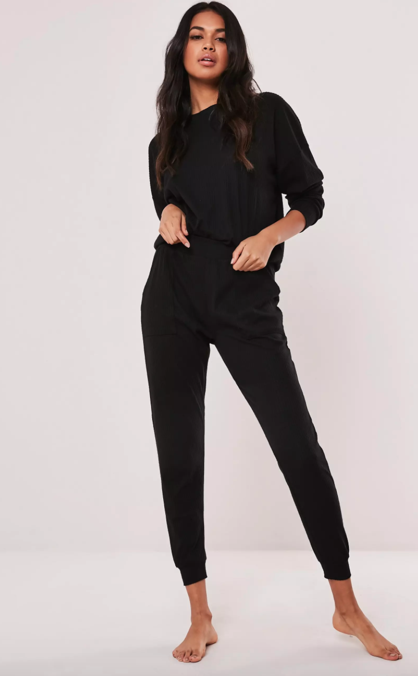 "<h3><a href=""https://www.missguidedus.com/"" rel=""nofollow noopener"" target=""_blank"" data-ylk=""slk:Missguided"" class=""link rapid-noclick-resp"">Missguided</a></h3> <br>For an option landing comfortably below the $50 mark, look no further than Missguided's assortment of trendy sweat sets in classic shades of black and gray. <br><br><strong>Missguided</strong> Soft Touch Loungewear Set, $, available at <a href=""https://go.skimresources.com/?id=30283X879131&url=https%3A%2F%2Fwww.missguidedus.com%2Fplus-size-black-rib-soft-touch-loungewear-set-10186112"" rel=""nofollow noopener"" target=""_blank"" data-ylk=""slk:Missguided"" class=""link rapid-noclick-resp"">Missguided</a><br>"