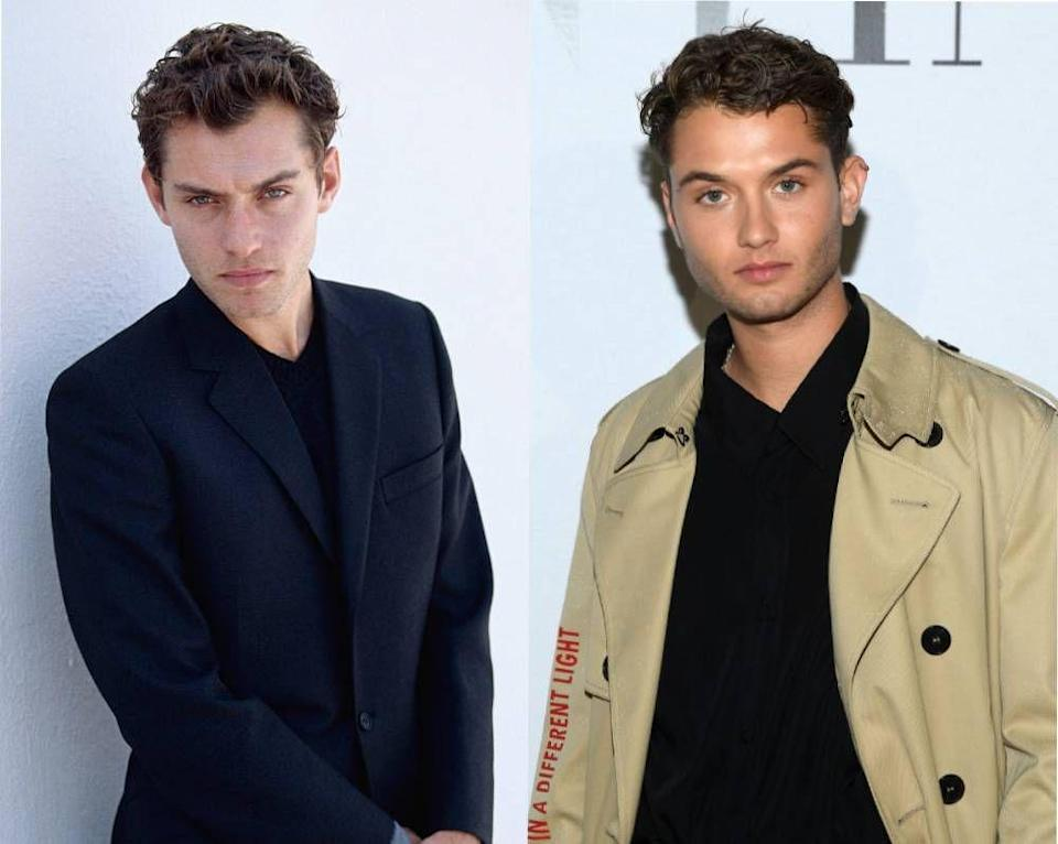 <p>When Raffety Law, 23, attended a Milan Fashion Week party in January, people couldn't get over how similar he looked to his dad Jude Law, pictured here in 1995. </p>