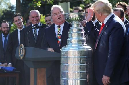 U.S. President Trump welcomes Stanley Cup champion St. Louis Blues at the White House in Washington