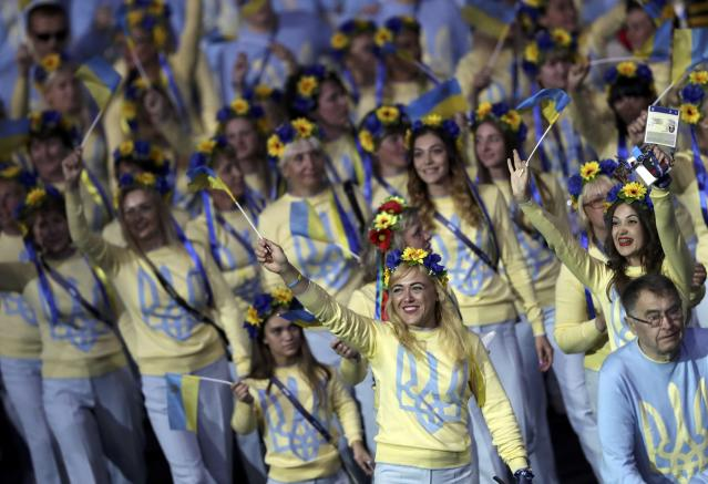 2016 Rio Paralympics - Opening ceremony - Maracana - Rio de Janeiro, Brazil - 07/09/2016. Athletes from Ukraine take part in the opening ceremony. REUTERS/Ueslei Marcelino FOR EDITORIAL USE ONLY. NOT FOR SALE FOR MARKETING OR ADVERTISING CAMPAIGNS.