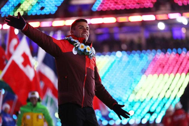 Pita Taufatofua of Tonga walks in the Parade of Athletes during the closing ceremony of the Pyeongchang 2018 Winter Olympic Games at Pyeongchang Olympic Stadium on Feb. 25, 2018 in Pyeongchang-gun, South Korea.