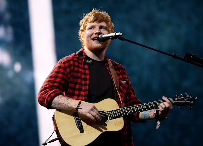 Ed Sheeran performs on the Pyramid stage at Glastonbury Festival (PA)