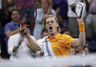 Denis Shapovalov, of Canada, reacts after winning the fourth set against Kevin Anderson, of South Africa, during the third round of the U.S. Open tennis tournament, Friday, Aug. 31, 2018, in New York. (AP Photo/Julio Cortez)