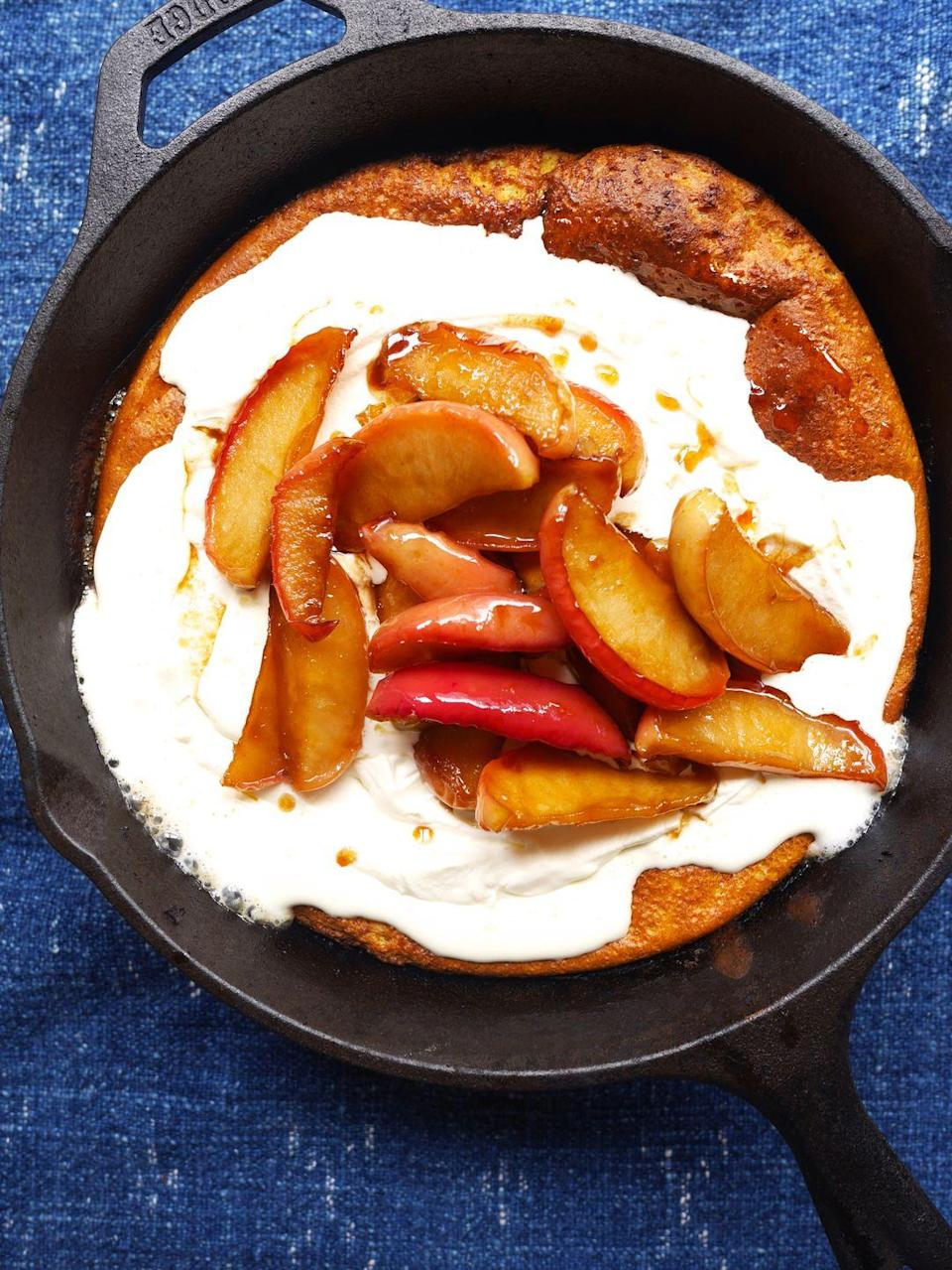"""<p>This autumnal breakfast puts plain old pancakes to shame.</p><p>Get the recipe from <a href=""""https://www.delish.com/cooking/recipe-ideas/recipes/a48963/pumpkin-dutch-baby-with-caramelized-apples-recipe/"""" rel=""""nofollow noopener"""" target=""""_blank"""" data-ylk=""""slk:Delish"""" class=""""link rapid-noclick-resp"""">Delish</a>. </p>"""
