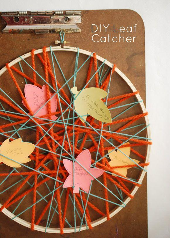 "<p>Celebrate your family's favorite fall activities with this DIY leaf catcher, so that you never forget what you are thankful for.</p><p><strong>Get the tutorial at <a href=""https://www.handmadecharlotte.com/diy-leaf-catcher/"" rel=""nofollow noopener"" target=""_blank"" data-ylk=""slk:Handmade Charlotte"" class=""link rapid-noclick-resp"">Handmade Charlotte</a>.</strong></p><p><strong><a class=""link rapid-noclick-resp"" href=""https://www.amazon.com/Mira-Handcrafts-Acrylic-Yarn-Bonbons/dp/B07B7M5RBW/ref=sr_1_11?tag=syn-yahoo-20&ascsubtag=%5Bartid%7C10050.g.22626432%5Bsrc%7Cyahoo-us"" rel=""nofollow noopener"" target=""_blank"" data-ylk=""slk:SHOP YARN"">SHOP YARN</a><br></strong></p>"