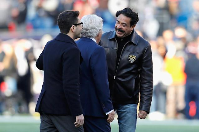 Jacksonville Jaguars owner Shahid Khan at an NFL game in Massachusetts in January. (Getty)