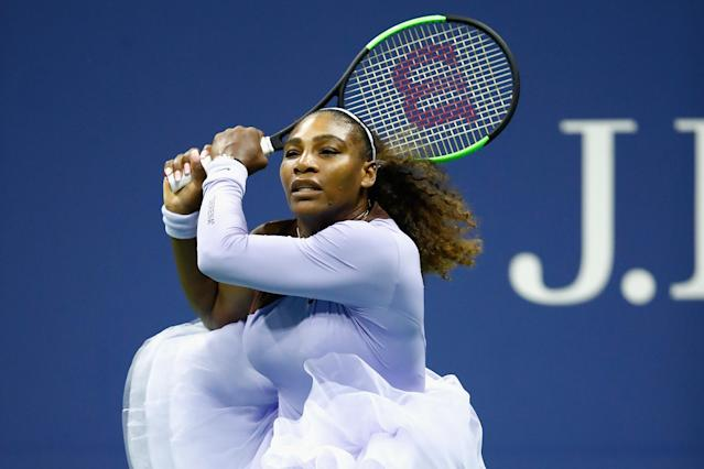 """<a class=""""link rapid-noclick-resp"""" href=""""/olympics/rio-2016/a/1132744/"""" data-ylk=""""slk:Serena Williams"""">Serena Williams</a> scored another dominant win in U.S. Open play over <span>Carina Witthoeft</span> to set up a third round match with her sister Venus. (Getty)"""