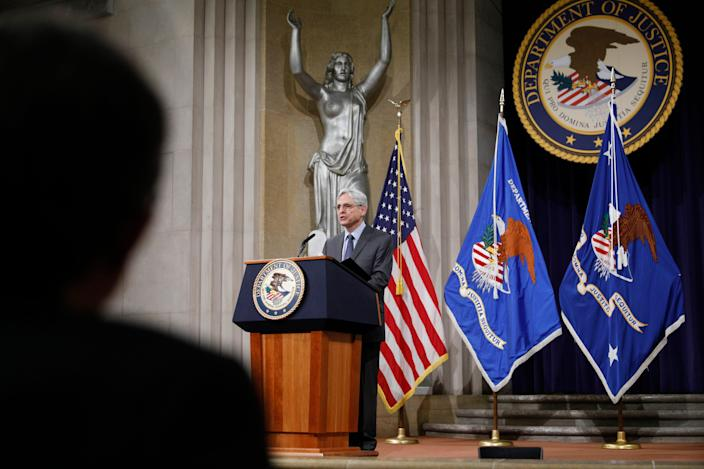 U.S. Attorney General Merrick Garland at the Justice Department in Washington.