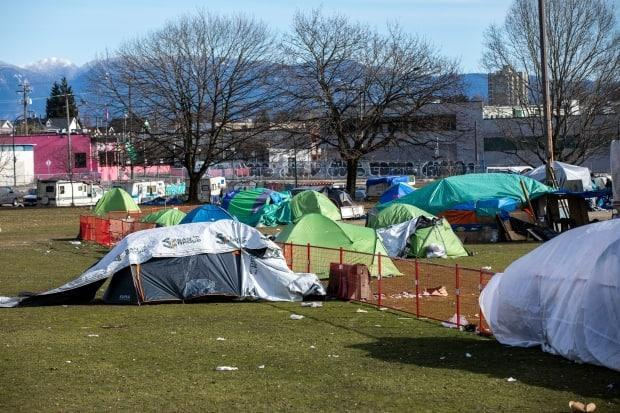 The federal government says the program will quickly provide homes for vulnerable people, like those living in Vancouver's Strathcona Park.  (Ben Nelms/CBC - image credit)