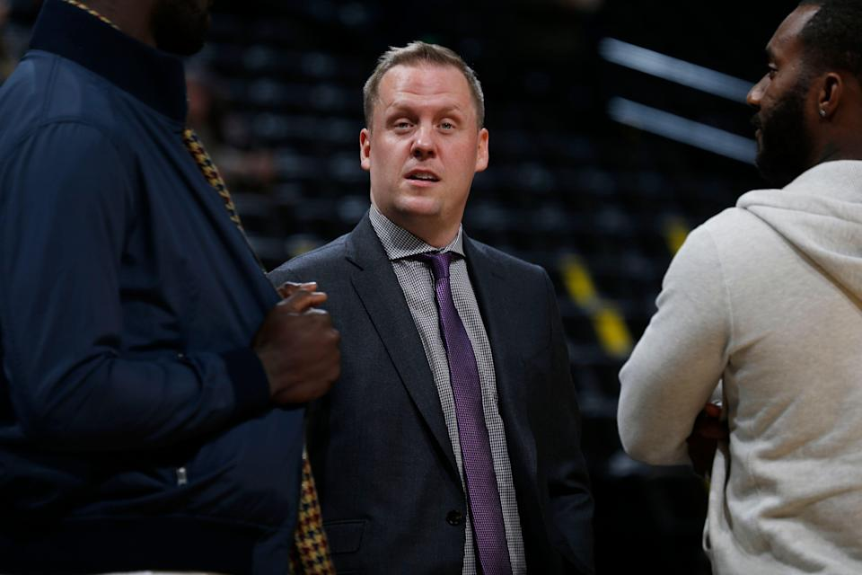 Denver Nuggets general manager Tim Connelly in the first half of an NBA basketball game Tuesday, Dec. 8, 2015, in Denver. (AP Photo/David Zalubowski)