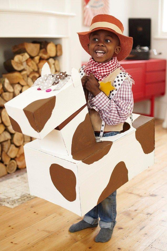 """<p>Every cowboy needs a horse to ride on, you know. Create one with the help of this nifty DIY tutorial—and make sure you ask your child for their input on the pattern of the horse's """"coat.""""</p><p><strong>Get the tutorial at <a href=""""http://www.madeformums.com/toddler-and-preschool/cute-and-easy-costumes-to-make-with-your-children/10400.html"""" rel=""""nofollow noopener"""" target=""""_blank"""" data-ylk=""""slk:Made for Mums"""" class=""""link rapid-noclick-resp"""">Made for Mums</a>.</strong></p><p><strong><a class=""""link rapid-noclick-resp"""" href=""""https://go.redirectingat.com?id=74968X1596630&url=https%3A%2F%2Fwww.walmart.com%2Fsearch%2F%3Fquery%3Dred%2Bgingham%2Bfabric&sref=https%3A%2F%2Fwww.thepioneerwoman.com%2Fholidays-celebrations%2Fg33925966%2Fwestern-halloween-costumes%2F"""" rel=""""nofollow noopener"""" target=""""_blank"""" data-ylk=""""slk:SHOP RED GINGHAM FABRIC"""">SHOP RED GINGHAM FABRIC</a><br></strong></p>"""
