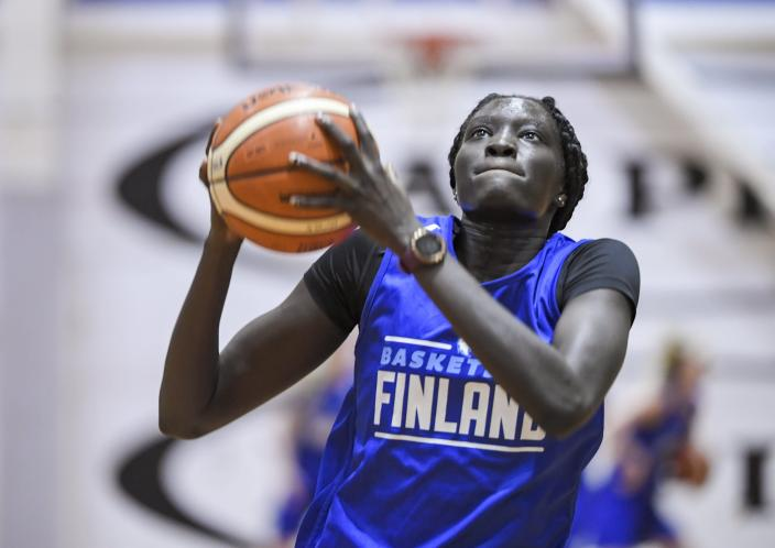 FILE - In this June 5, 2020, file photo, basketball player Awak Kuier of Finland is pictured during a training session in Helsinki, Finland. The Dallas Wings basically control the WNBA draft on Thursday night, April 15, 2021, with the top two picks and four first-round choices. Wings President and General Manager Greg Bibb said that the franchise is looking at a number of players for the top two picks and he hasn't been shy about heaping praise on Finnish player Awak Kuier. (Markku Ulander/Lehtikuva via AP)