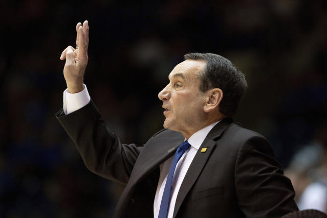 Duke head coach Mike Krzyzewski calls a play for his team during an NCAA college basketball exhibition game against Northwest Missouri State in Durham, N.C., Saturday, Oct. 26, 2019. (AP Photo/Ben McKeown)