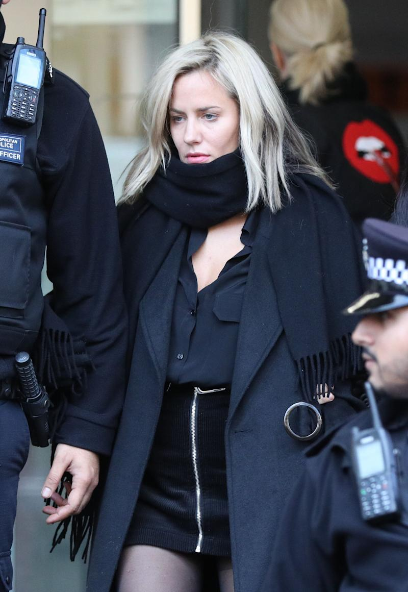 Caroline Flack leaves Highbury Corner Magistrates' Court where she plead not guilty to assaulting boyfriend Lewis Burton. (Photo: PA)