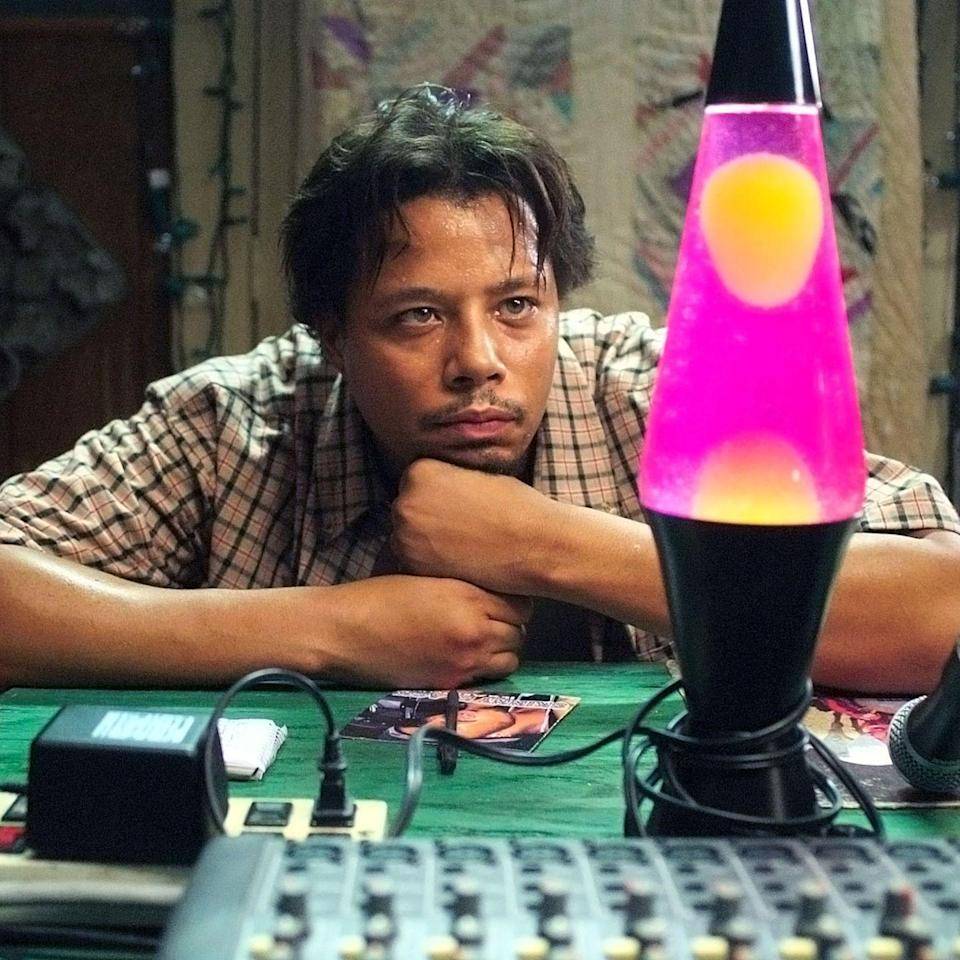 """<p>Terrence Howard was nominated for an Oscar for his leading role as DJay in Craig Brewer's 2005 film <em>Hustle & Flow</em>, a musically inclined tale about a Memphis pimp whose rap skills just might be his ticket out of poverty. And though there's no doubt his time behind the mic played a part in that nomination, it's actually one of the songs he drops, """"<a href=""""https://www.youtube.com/watch?v=wN0xK6bgQkQ"""" rel=""""nofollow noopener"""" target=""""_blank"""" data-ylk=""""slk:It's Hard Out Here for a Pimp"""" class=""""link rapid-noclick-resp"""">It's Hard Out Here for a Pimp</a>,"""" that brought the Oscar home—albeit for someone else. Or rather, three someone elses, as Three 6 Mafia won the Oscar for Best Original Song. In addition to the Memphis trio, <a href=""""https://www.youtube.com/watch?v=NTgsb35CX_o"""" rel=""""nofollow noopener"""" target=""""_blank"""" data-ylk=""""slk:Juvenile"""" class=""""link rapid-noclick-resp"""">Juvenile</a>, <a href=""""https://www.youtube.com/watch?v=jPUowsCAX78"""" rel=""""nofollow noopener"""" target=""""_blank"""" data-ylk=""""slk:T.I."""" class=""""link rapid-noclick-resp"""">T.I.</a>, and Taraji P. Henson all contribute to the soundtrack.</p><p><a class=""""link rapid-noclick-resp"""" href=""""https://www.amazon.com/Hustle-Flow-Terrence-Howard/dp/B000I52LVS?tag=syn-yahoo-20&ascsubtag=%5Bartid%7C10056.g.32872244%5Bsrc%7Cyahoo-us"""" rel=""""nofollow noopener"""" target=""""_blank"""" data-ylk=""""slk:Watch and Listen"""">Watch and Listen</a></p>"""