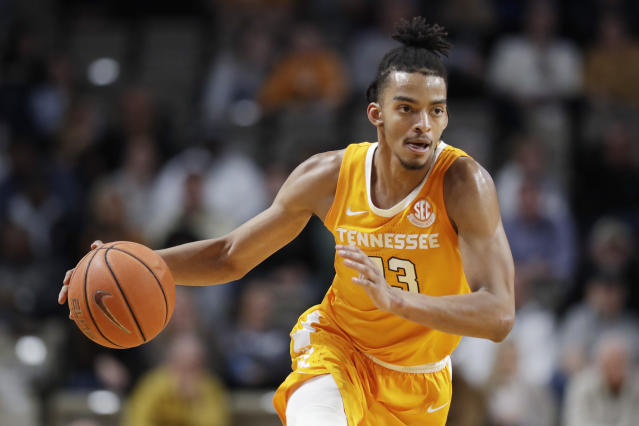 Tennessee guard Jalen Johnson brings the ball up against Vanderbilt during the second half of an NCAA college basketball game Saturday, Jan. 18, 2020, in Nashville, Tenn. Tennessee won 66-45. (AP Photo/Mark Humphrey)