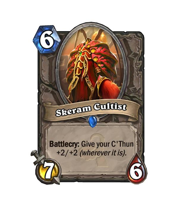 <p>Fun fact: Up until you play C'Thun, Skeram Cultist is bigger than the main man himself. But as soon as he drops, the Old God spikes past him. A true dilemma of power.</p>