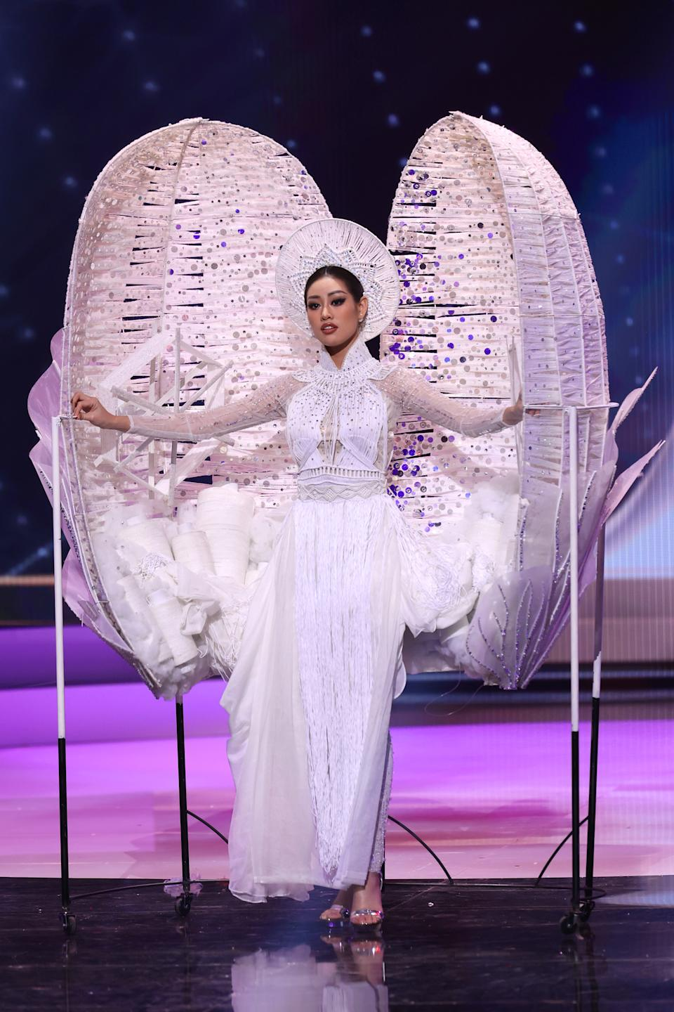 <p>Miss Universe Vietnam Nguyen Tran Khanh Van appears onstage at the Miss Universe 2021 - National Costume Show at Seminole Hard Rock Hotel & Casino on May 13, 2021 in Hollywood, Florida. (Photo by Rodrigo Varela/Getty Images)</p>