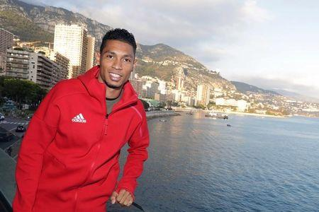 Wayde Van Niekerk of South Africa poses after a press conference for the 2016 IAAF Athletics Awards in Monaco