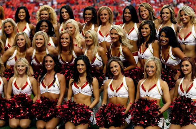 KANSAS CITY, MO - AUGUST 24: Kansas City Chiefs cheerleaders pose for a photo during the NFL preseason game between the Seattle Seahawks and the Kansas City Chiefs at Arrowhead Stadium on August 24, 2012 in Kansas City, Missouri. (Photo by Jamie Squire/Getty Images)
