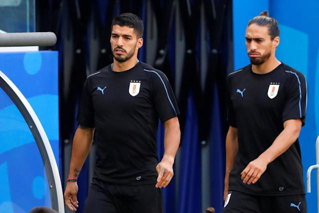 Soccer Football - World Cup - Uruguay Training - Samara Arena, Samara, Russia - June 24, 2018 Uruguay's Luis Suarez and Martin Caceres during training REUTERS/David Gray