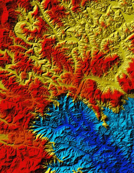Topography of the Blue Ridge Escarpment, Virginia and West Virginia. Atlantic draining rivers at low elevation (blue colors) are advancing westward, capturing the older, west-draining rivers (yellow and reds) of the Appalachian Plateau.