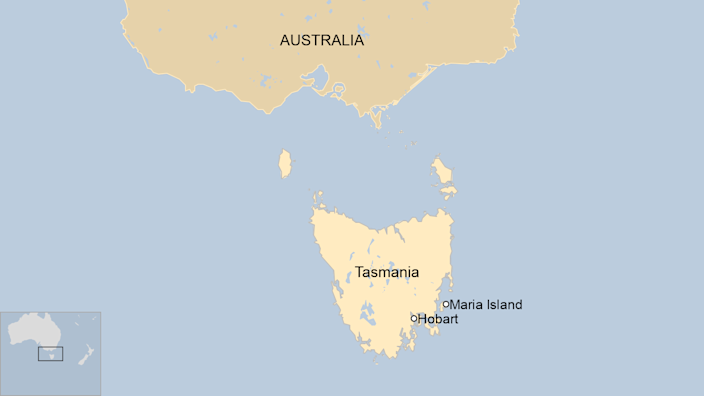 A map showing where Maria Island is in Tasmania