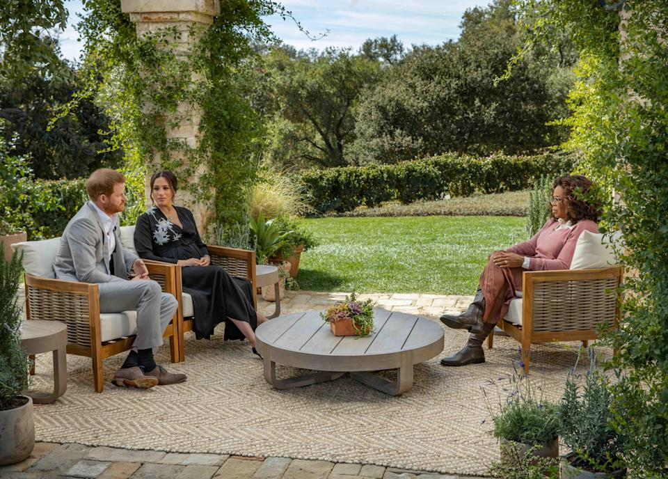 Prince Harry and Duchess Meghan of Sussex sat down with Oprah Winfrey in the backyard of their California home for a two-hour interview airing March 7 on CBS.