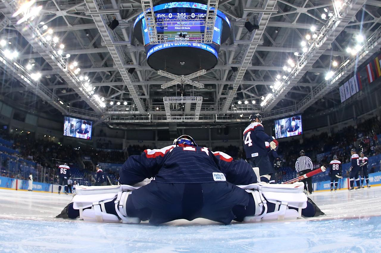SOCHI, RUSSIA - FEBRUARY 13: Jaroslav Halak #41 of Slovakia warms up against the United States during the Men's Ice Hockey Preliminary Round Group A game on day six of the Sochi 2014 Winter Olympics at Shayba Arena on February 13, 2014 in Sochi, Russia. (Photo by Martin Rose/Getty Images)