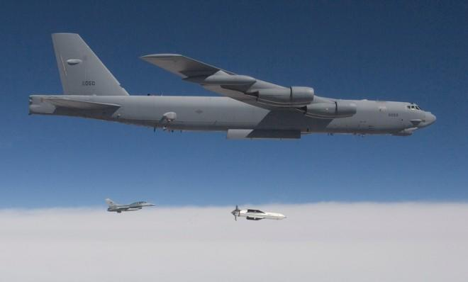 A B-52 releases a test version of the Massive Ordinance Penetrator over White Sands Missile Range, N.M., in 2009.