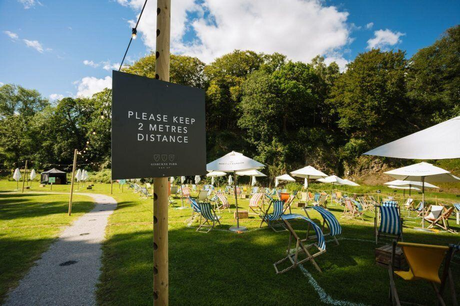 Gisburne Park Pop Up: festivalgoers must remain within their hexagonal pods at all times to socially distance (Photo: HuffPost UK)