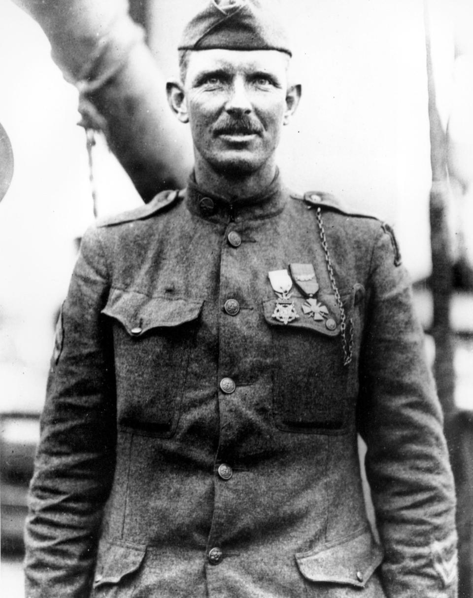 FILE—This is a 1919 file photo of Sgt. Alvin York of the U.S. Army in an unknown location. The claim in Pennsylvania state Sen. Doug Mastriano's 2014 book about York, that a 1918 U.S. Army Signal Corps photo was mislabeled and actually shows York with three German officers he captured, has been disputed by rival researchers. (AP Photo/Department of U.S. Army)