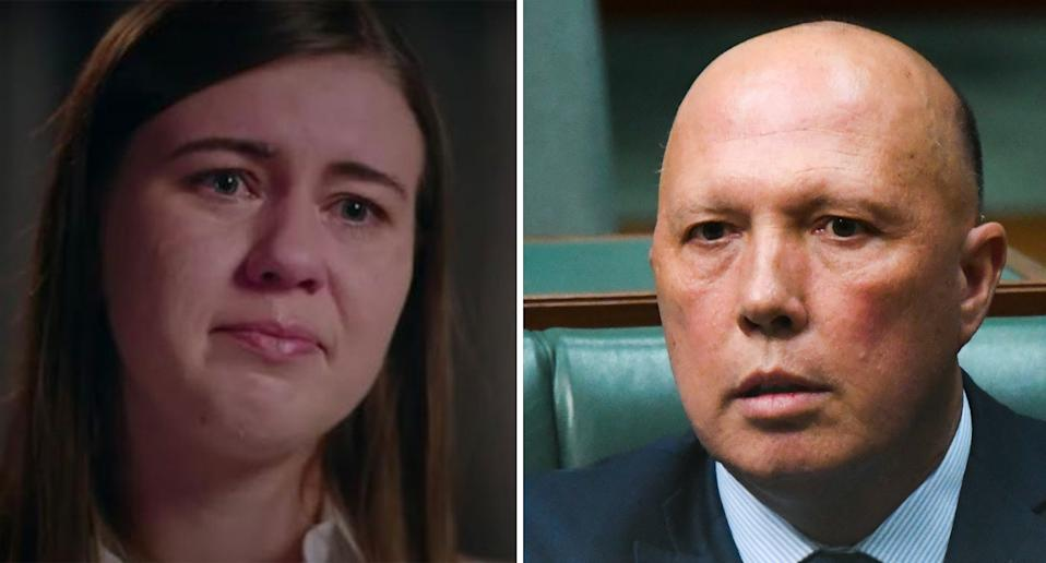 Brittany Higgins is pictured left and Peter Dutton in a photo on the right.