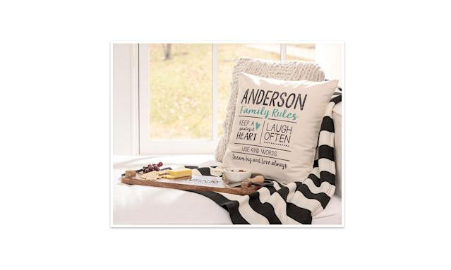 "<p>Customize a pillow with a special message for your mom.<br><br>Statement Canvas Pillow Cover & Insert, 18 x18 natural, $50,<a href=""https://www.mythirtyone.com/product/8113"" rel=""nofollow noopener"" target=""_blank"" data-ylk=""slk:mythirtyone.com"" class=""link rapid-noclick-resp""> mythirtyone.com</a> </p>"