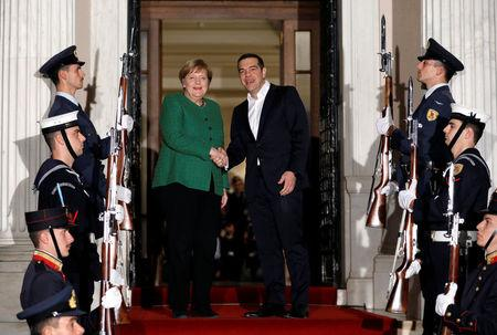 Greek Prime Minister Alexis Tsipras meets with German Chancellor Angela Merkel in Athens