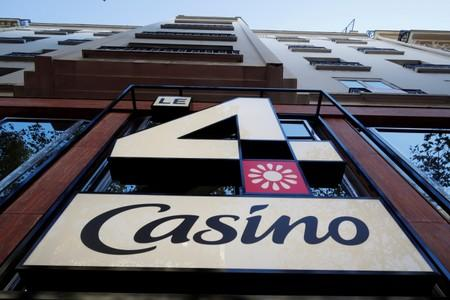 "The logo ""Le 4 Casino"" is seen outside a high-tech store of supermarket retailer Casino in Paris"