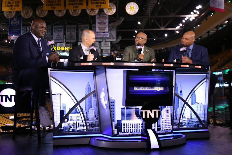Shaquille O'Neal, Charles Barkley, Kenny Smith, and Ernie Johnson chat before Game 2 of the 2017 Eastern Conference Finals (Nathaniel S. Butler/NBAE/Getty Images)