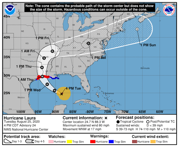 Hurricane Laura is still on track to hit the central Gulf Coast as a category 3 hurricane.