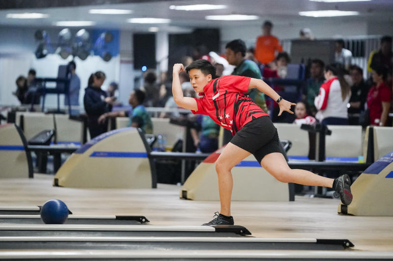 Singapore bowler New Hui Fen during the women's masters competition at the SEA Games (PHOTO: SNOC/Kong Chong Yew)