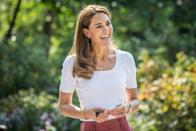 <p>Kate layered on the gold from her hoops to her necklaces and bracelet for a September 2020 appearance in London. <br></p>