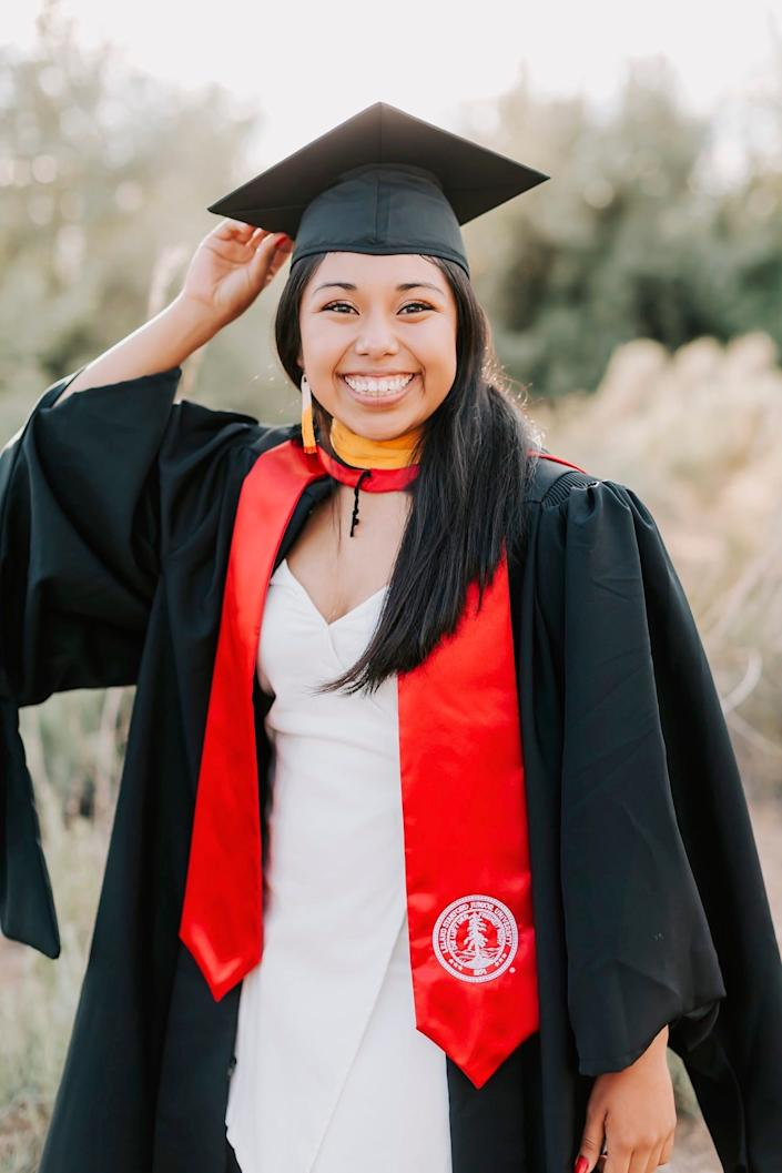 Gianna Nino-Tapias graduated with a master's degree in epidemiology from Stanford in June and is going back to start medical school this month. She wants to become a doctor so she can help people like her mother, who struggle to get proper help from doctors because they don't speak English well.