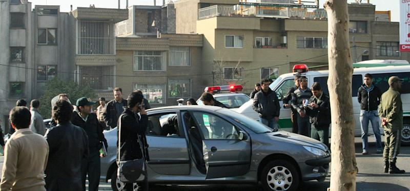 This photo released by Fars News Agency is claimed by them to show one of the damaged cars following bomb attacks on the vehicles of two nuclear scientists in Tehran, Iran, Nov. 29, 2010. Assailants on motorcycles attached bombs to the two cars of two nuclear scientists as they were driving to work in Tehran on Monday, killing one and seriously wounding the other, state television reported. (Photo: Fars News Agency/AP)