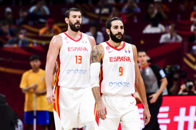 BEIJING, CHINA - SEPTEMBER 13: #9 Ricky Rubio and Marc Gasol of Spain during the semi-finals march between Spain and Australia of 2019 FIBA World Cup at the Cadillac Arena on September 13, 2019 in Beijing, China. (Photo by Di Yin/Getty Images)