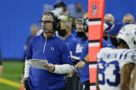 Indianapolis Colts head coach Frank Reich watches from the sidelines during the first half of an NFL football game against the Detroit Lions, Sunday, Nov. 1, 2020, in Detroit. (AP Photo/Duane Burleson)