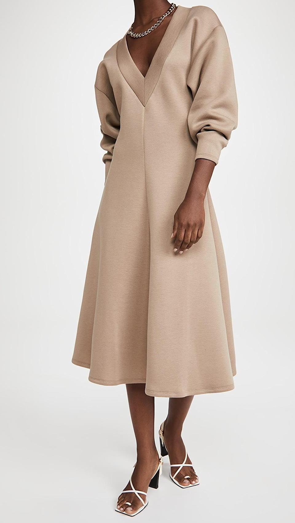 <p>We're loving this neutral <span>Beaufille Vera Dress</span> ($480).</p>