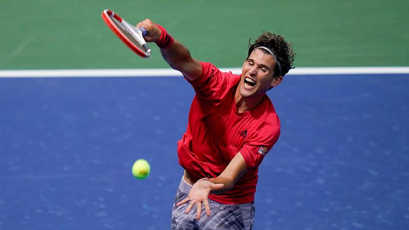 Thiem is seen here serving during his opening round win at the US Open.